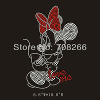 Free shipping 40pcs/lot Custom Rhinestone Transfer Motif Minnie Mouse Bling Cartoon  for Clothing