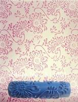 [Chrysanthemum pattern] 7'' blue Soft rubber stamp printing roller 180mm printing roller brush paint roller FREE shipping