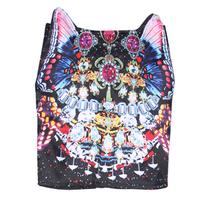 High quality silks and satins three-dimensional butterfly gem print slim hip skirt cat ears short skirt female YESE-16