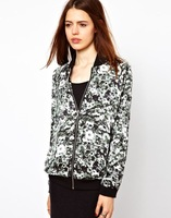 Hitz Ink Printing Zipper Female Jacket Collar Short Jacket Free Shipping Wholesale 2013