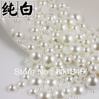 Mixed Size 6000pcs/pack 2mm 3mm 4mm pure white Half Round DIY Resin Flatback Nail Art Pearl
