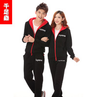 Outerwear male sports sweatshirt casual lovers set class service plus velvet slim cardigan