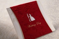Red color bride & groom design wedding invitation cards with envelope Wedding Favor