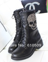 Free shipping + 2013 newest high quality leather popular rhinestone rivets skull winter casual martin boots