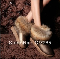 Autumn and winter the new waterproof non slip shoes imitation fox fur snow boots
