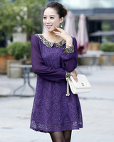 Free Shipping,2013 new arrival,paillette lace one-piece plus size dress ,women fashion clothing,NO 13255,high quality