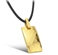 2 colors square pendant necklace for men fashion jewelry tungsten steel jewelry for  men wholesale jewelry for resale