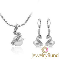New Arrival Elegent White Pearl Fashion 18K Gold Plated Jewelry Sets Necklace Earrings Wholesale Free Shipping-Jewelry Bund