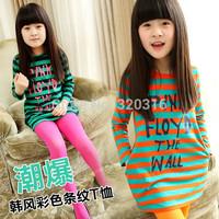 Clothing female child 2013 autumn long-sleeve dress cotton girl 100% kid's dress 2 - 7  (CC013N)