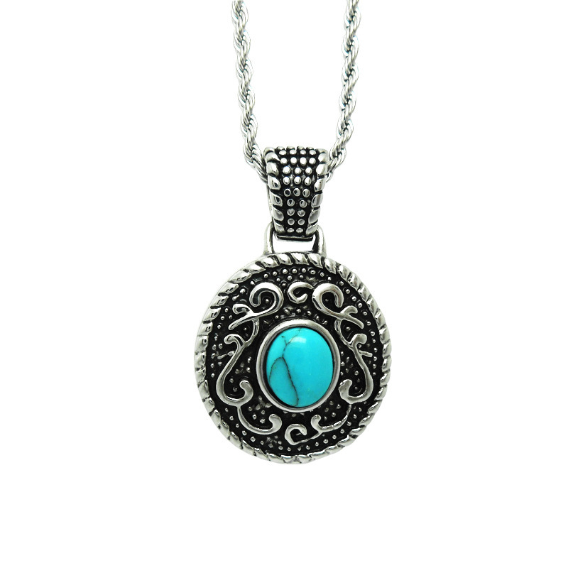 2013 New design titanium steel stainless steel Twisted Necklace/ Antique titanium round pandant with natural turquoise(China (Mainland))