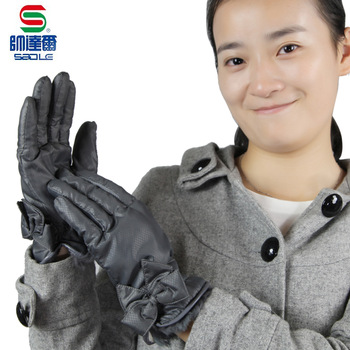Cuff genuine leather bag fashion winter women's quality thermal windproof down cold-proof gloves brief