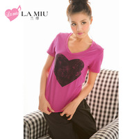 Lamiu pink sleepwear fashionable casual short-sleeve women's home set