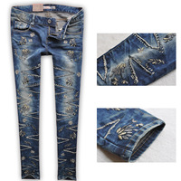 autumn rhinestones patch three-dimensional embroidery jeans for women trousers skinny pencil pants