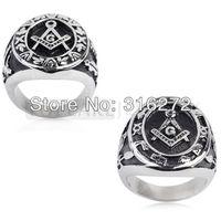 Topearl Jewelry 2pcs/LOT Masonic Men Massiness Ring Black Enamel Engraved Stainless Steel
