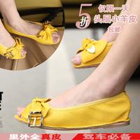 Flat heel single shoes female flat full super soft genuine leather open toe Women rolls shoes ladle shoes Moccasins maternity