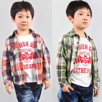Child bear embroidery plaid cotton cloth long-sleeve shirt male child spring and autumn long-sleeve top outerwear