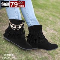 Tassel boots shoes female black women's casual flat boots 2013