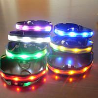 Free Dropshipping* 5 Pcs Pets Dog Adjustable LED Lights Flash Night Safety Nylon Collar Waterproof S-XL SL00458