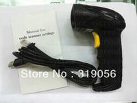 Free Shipping Laser Barcode Scaner USB 2.0/RS232/KB Bar Code POS Handheld Barcode Reader Laser scanning gun black