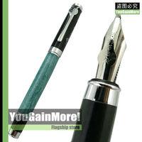 Duke Emerald And Black Barrel Guan Yu Calligraphy Fountain Pen Chrome Trim