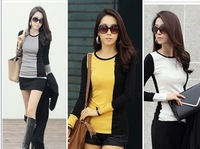 New Fashion Women Long Sleeve T Shirt Tees O Neck Left and Right Color Patchwork T-shirt Tops Hot Sale  6604