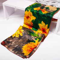 New 2013 100% Pure Mulberry Silk Scarves Designer Women Luxury Oil Painting Scarfs Square Scarf Accessories Gift 88x88cm SF0182