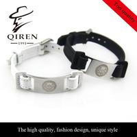 Belt buckle Stainless steel bangle skull head part gunuine leather bracelets bangle QR-219