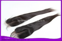 "Unprocessed hair top closure center part bleach knots color #1b straight Swiss lace closure 3.5x4"" free shipping"