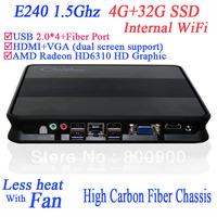 mini pc dual monitor with AMD APU E240 1.5Ghz 4G RAM 32G SSD internal WiFi Radeon HD6310 Core HD 17W consumption Windows Linux