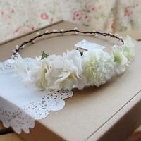Free Shipping Handmade Vintage Head Vine White Garishness Fairy Guelder Flower Twig Bride hair accessory angle