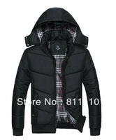 Trend Knitting  High Quality Winter Warm Men's thick Coat Cotton Down Slim Black dust coat  jacket  Size L-4XL