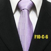 Men`s Striped Fashon Purple Lilac Geometric Neckties For Men Business Wedding Groom Ties For Man Wide Gravatas F10-C-6