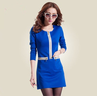 2133 Womens  ladies zip style long-sleeve slim OL elegant one-piece dress