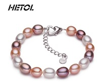 Free Shipping  Authentic 8-9 mm natural water pearl bracelet mix colour light flawless