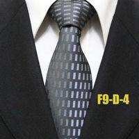 Fashion Mens Geometric Popular Novelty Dark Gray Ties For Men Grey Business Grid Formal Neckties For Man Gravatas 9CM F9-D-4