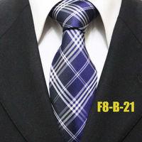 New Arrival Mens Business Unique Classic Dark Blue Check Neckties For Men Grid Man Groom Plaid Ties Man Gravatas 8CM F8-B-21