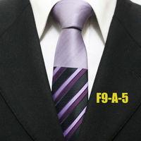 New Arrival Popular Mens Patchwork Classic Purple Diagonal Striped Neckties For Men Woven Ties For Shirt Gravatas 9CM F9-A-5