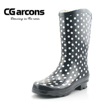 Autumn and winter classic knee-high boots polka dot print rainboots female water shoes