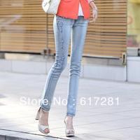 Free shipping fashion autumn - winter women's models women hot drilling Slim jeans feet pencil pants jeans casual dress