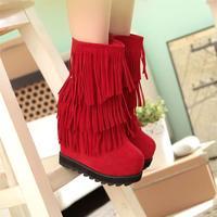 Fashion star style fashion personality tassel platform medium-leg 15cm elevator wedges boots ultra high heels boots