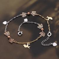 Charm Butterfly Angel Heart 3 Tones 9k Gold Filled GF Women's Filigree Anklet Bracelet  Length adjustableFree shipping