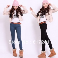 Free shipping autumn - winter fashion lady jeans casual dress Slim thin elastic big yards thick trousers boots pants