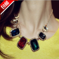Multicolour gem necklace fashion vintage female short design chain star crystal decoration
