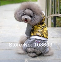 2014 New Pet Stitching Fashion Night 4-Legs Sports Sweater Wear Casual Cotton Warm Thick Coat Dog Teddy Winter Clothes Apparel
