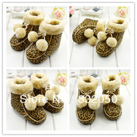 New arrival (6 pairs/lot) acrylic winter warm leopard print baby boots shoes wholesale H010161456