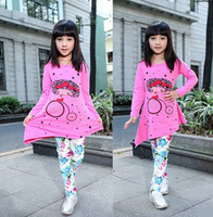 Retail free shipping !2014 Fashion charm Elegant sweet printing  cartoon  pattern  Irregular Long-sleeved T-shirt for girls