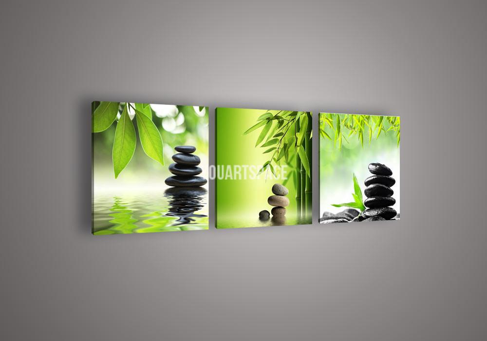 Aliexpress.com : Buy 3 Piece Wall Art Botanical Green Bamboo Stone ...