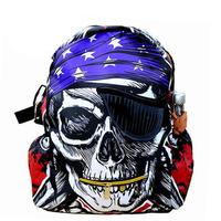 Popular 2013 America Creative pirate skull printing backpack designers school bag canvas rucksacks FREE SHIPPING