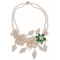For nec  klace female short design chain pearl shell crystal pearl flower necklace handmade knitted