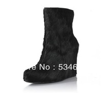 Fashion novel horse hair leather platform wedge black Ankle Boot high heel short boots